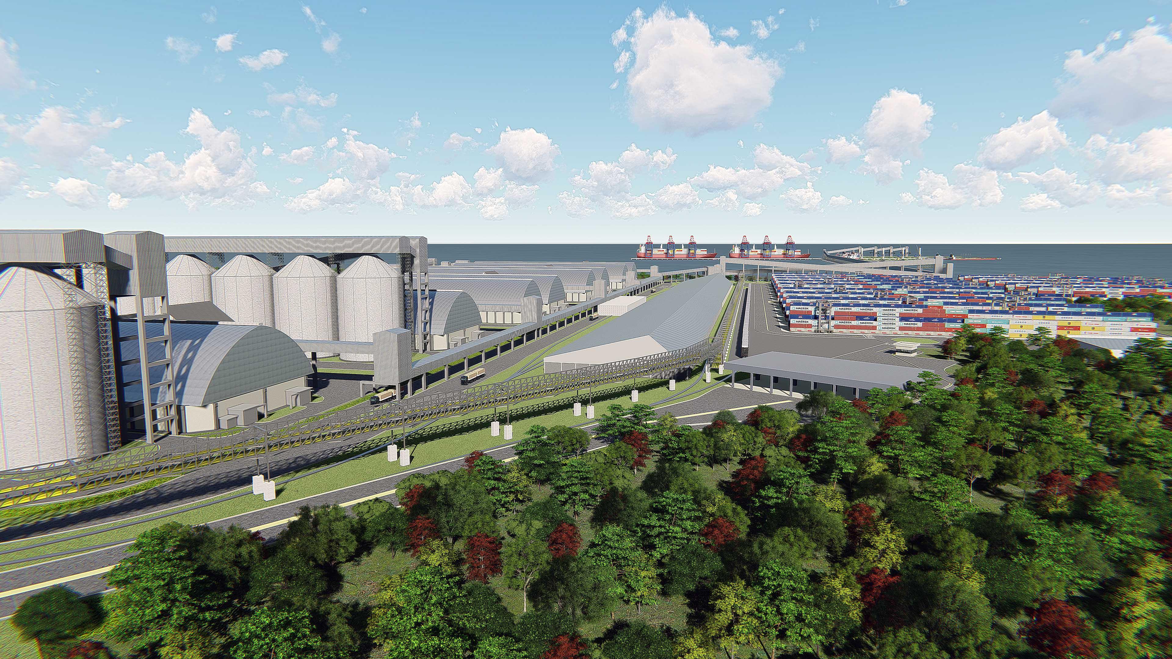 O Portoguara está projetado para ser um complexo logístico rodoferroviário, integrado a um complexo portuário. (Divulgação/Portoguara).