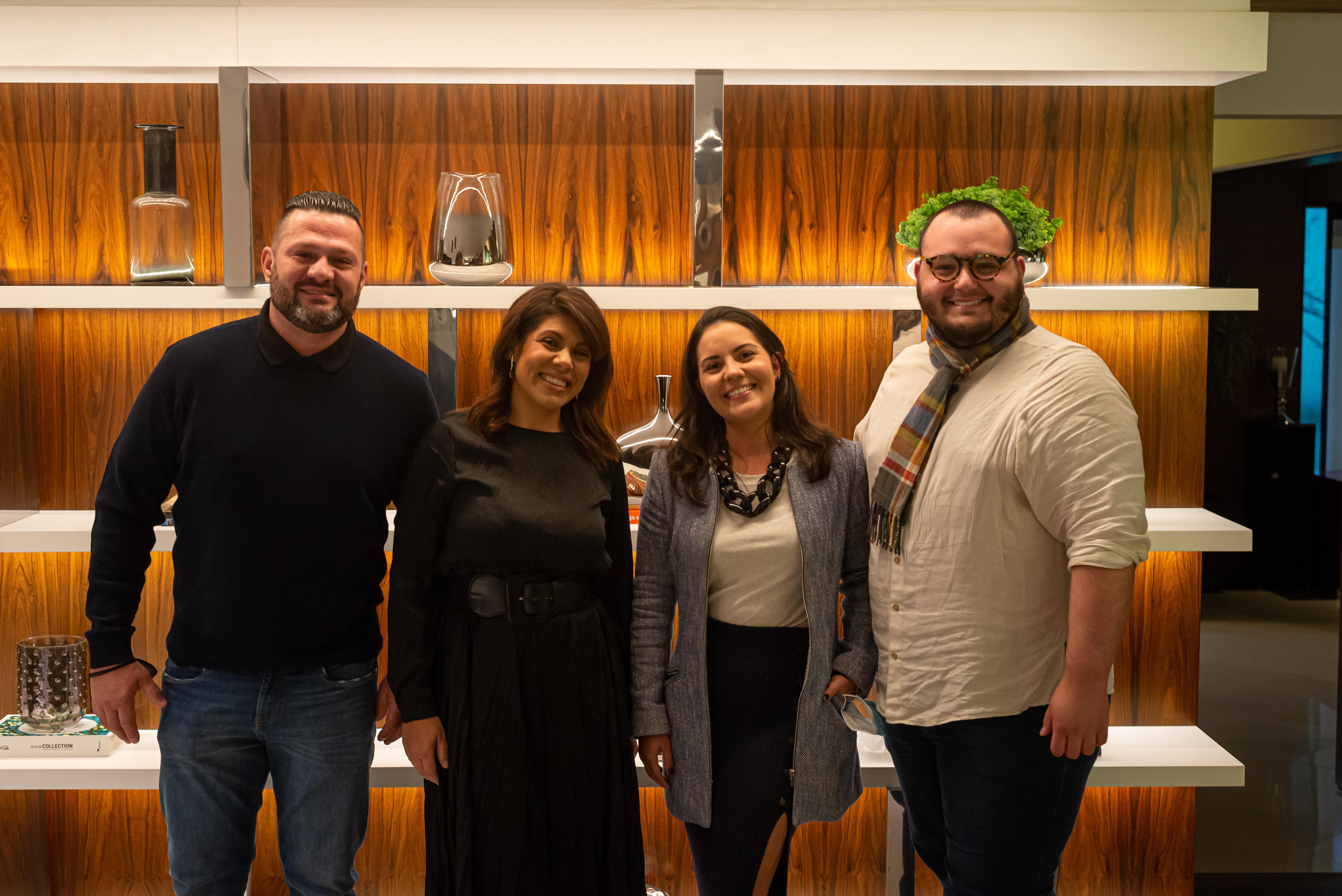 Os sócios da Mobitec, Jefferson Buture e Patrícia Miranda, Maiara Faria, e o editor de HAUS, Luan Galani.