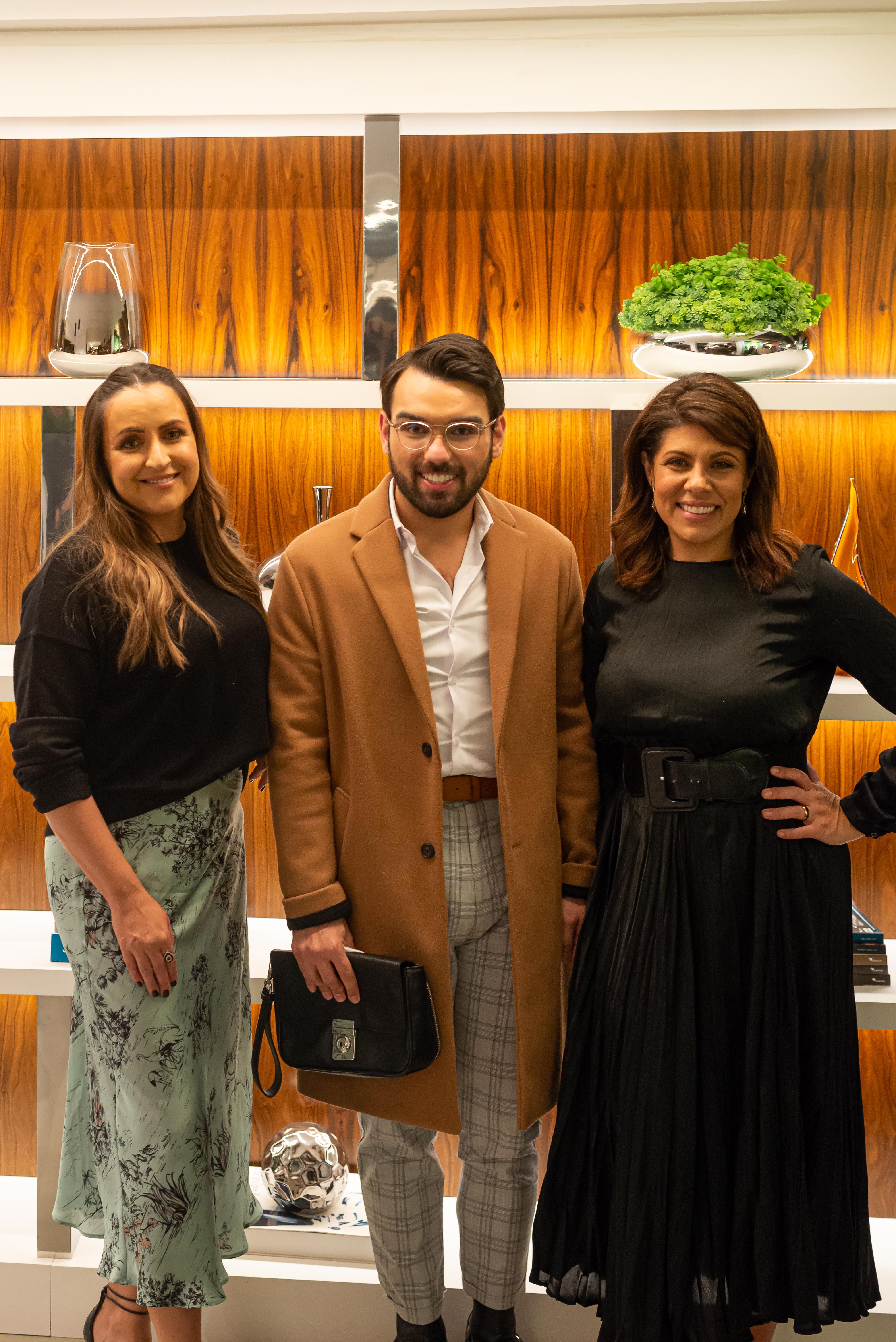 As sócias da Mobitec, Eliana Miura e Patrícia Miranda, com Inácio Leão (centro).