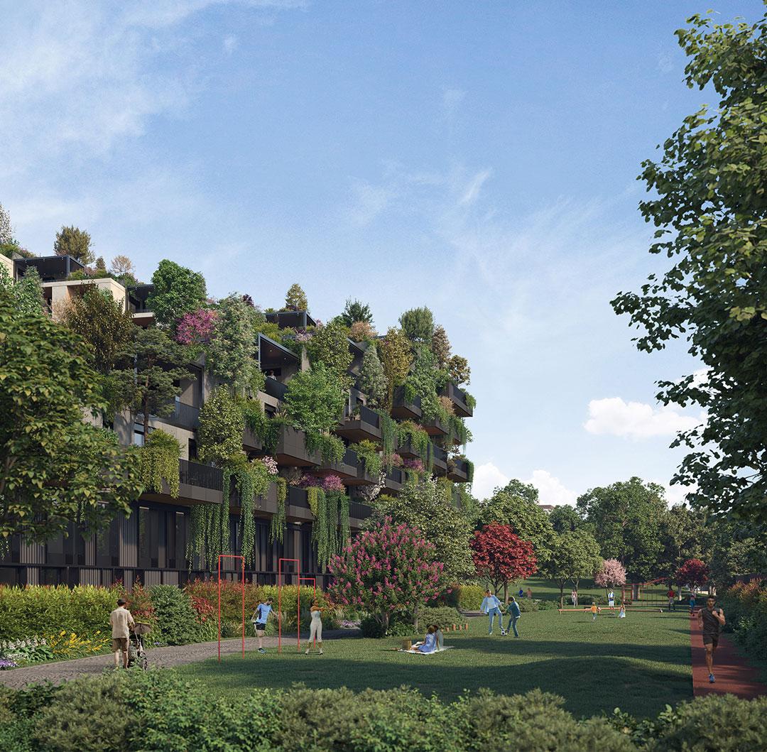 Apartamentos serão dispostos de forma espiralada e crescente ao redor da área verde central.