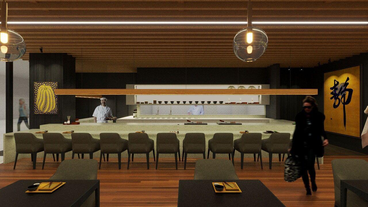 O salão e o sushi bar do Emy, conforme projeto.
