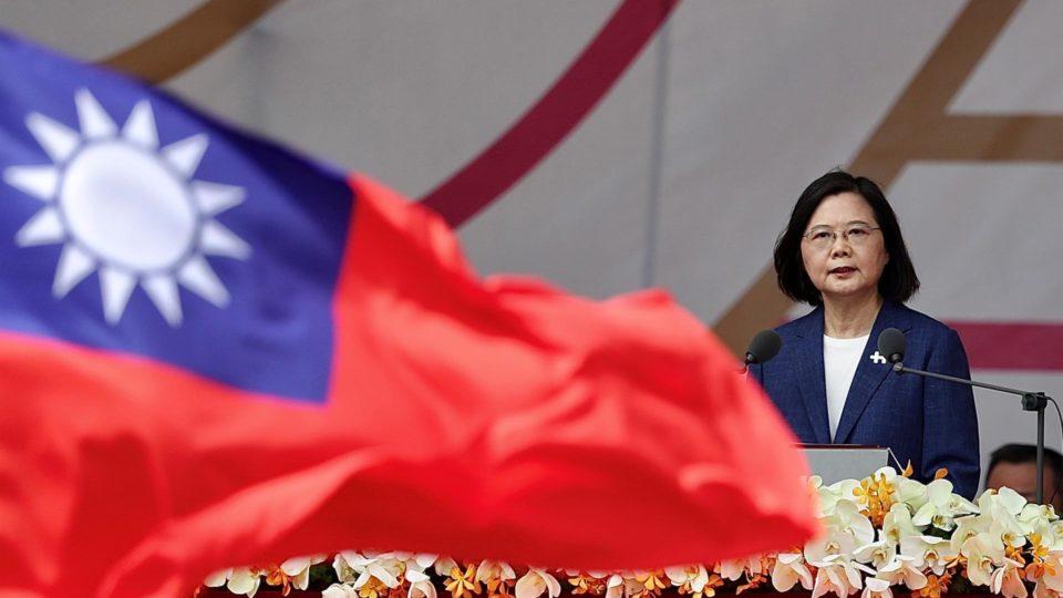 A presidente Tsai Ing-wen, durante as comemorações do Dia Nacional taiwanês