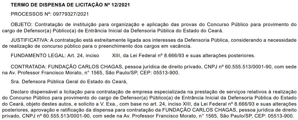 Reprodução do Diário da Justiça do Ceará