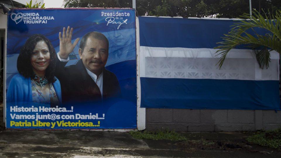 Propaganda eleitoral do ditador Daniel Ortega em Manágua, capital nicaraguense