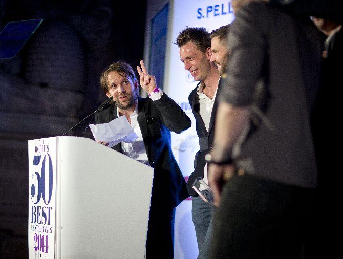 René Redzepi durante seu discurso na premiação. Foto: 50 Best Restaurants/divulgação