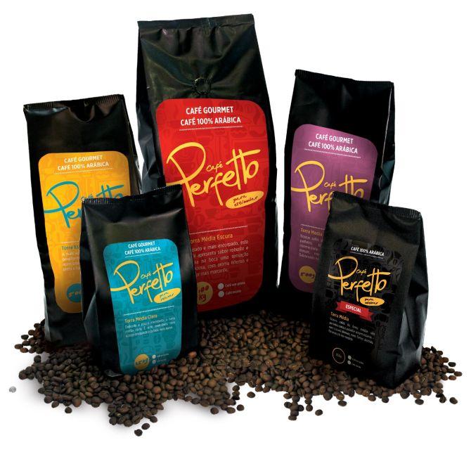 Linha 100% arábica da Café Perfetto é vendida em quatro tipos de torras. Foto: Divulgação.