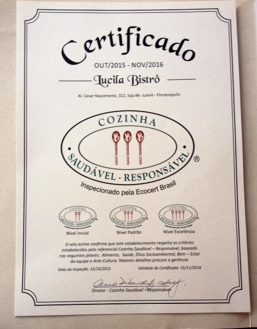 Lucila Bistrô, em Florianópolis, é um dos estabelecimentos comerciais que foi reconhecido pelo selo. Foto: Divulgação