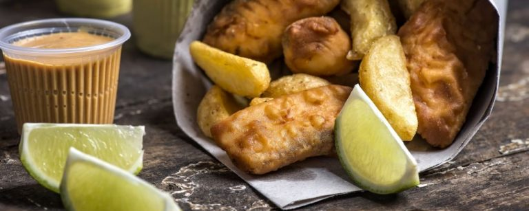 Bar serve fish and chips no cone