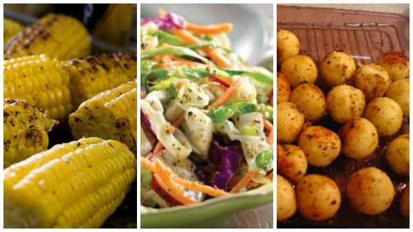 O corn on the cob (milho na brasa), o cole slaw (salada de repolho com vinhagrete) e as baked potatoes (batatas assadas) são os acompanhamentos mais tradicionais. / Foto: divulgação.