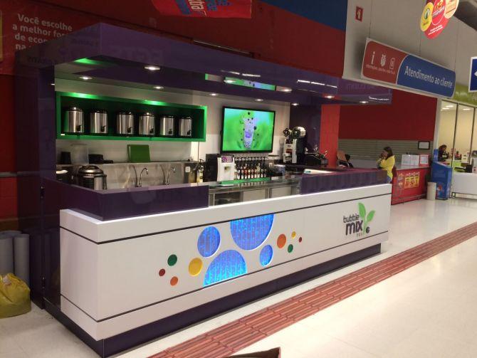 Nova loja da Bubble Mix Tea fica em um hipermercado. Foto: Divulgação