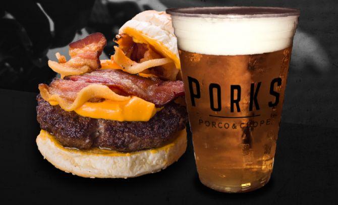 Porks Burguer Bacon do Porks - Porco e Chope. Foto: Divulgação.