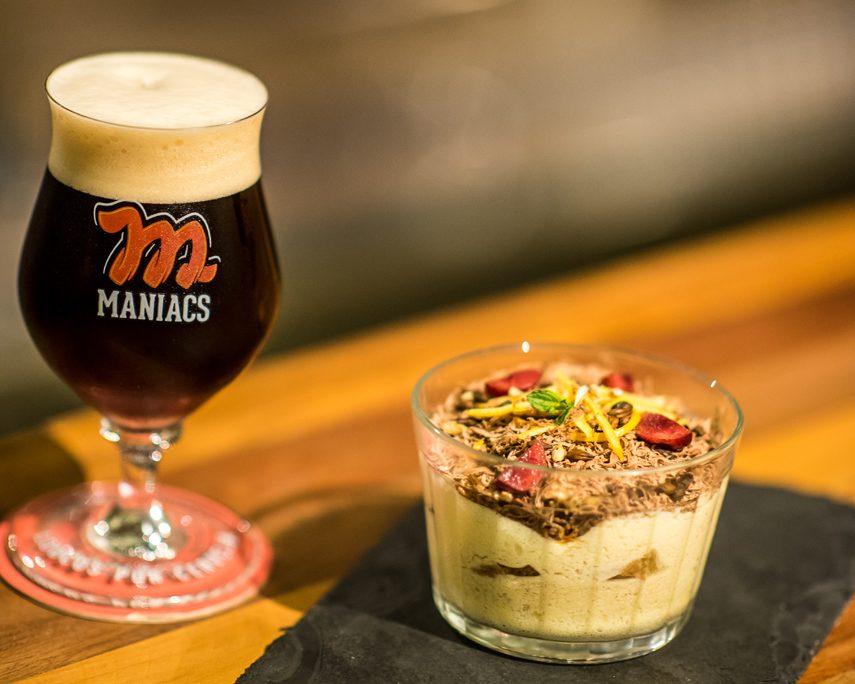 A releitura do Tiramissú tem a Imperial Stout no lugar do café e uma Summer Ale no queijo mascarpone. Foto: Fernando Nobre/divulgação