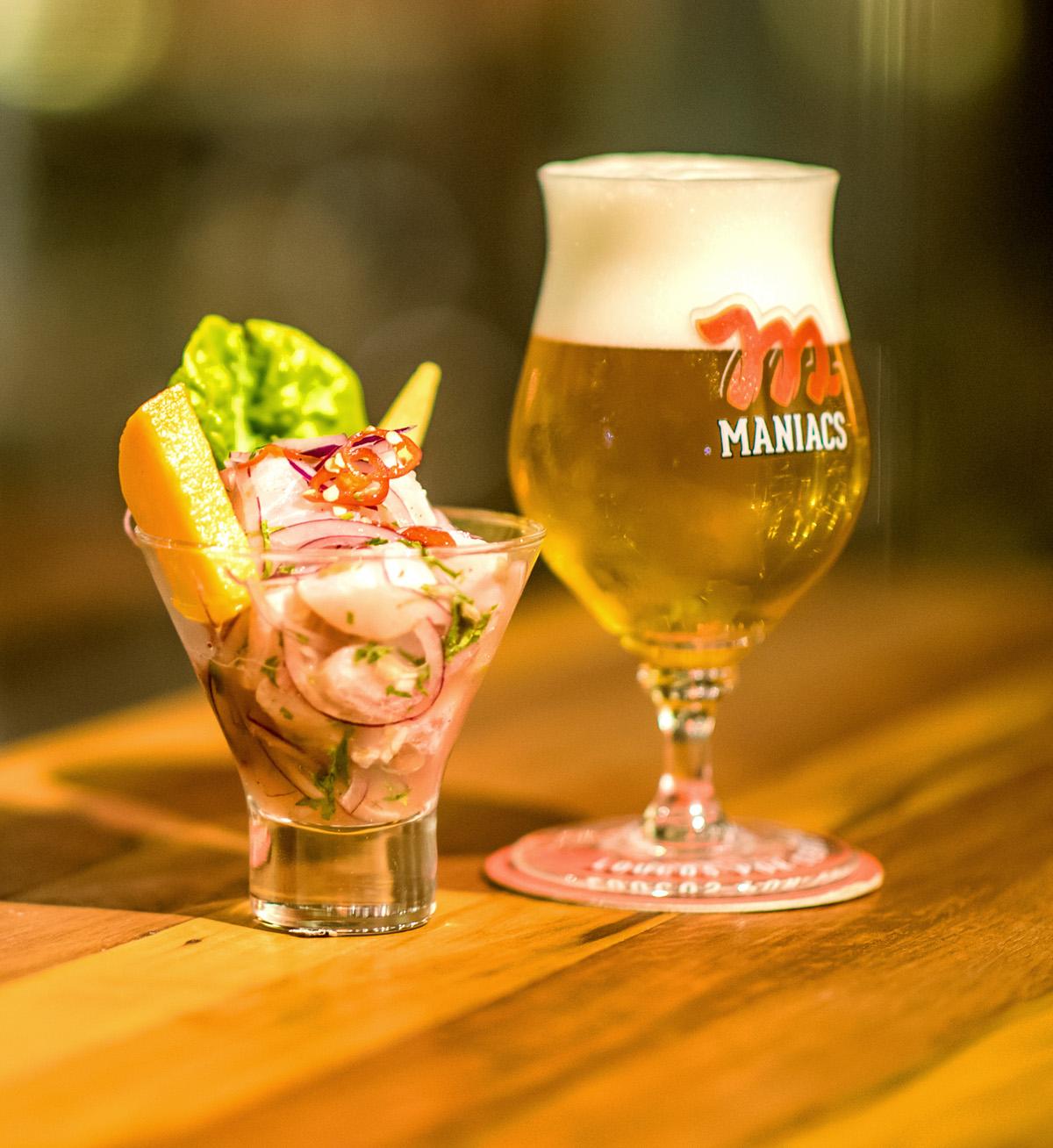 Todos os pratos do Bar da Fábrica Maniacs levam cerveja no preparo, até mesmo o ceviche peruano. Foto: Fernando Nobre/divulgação