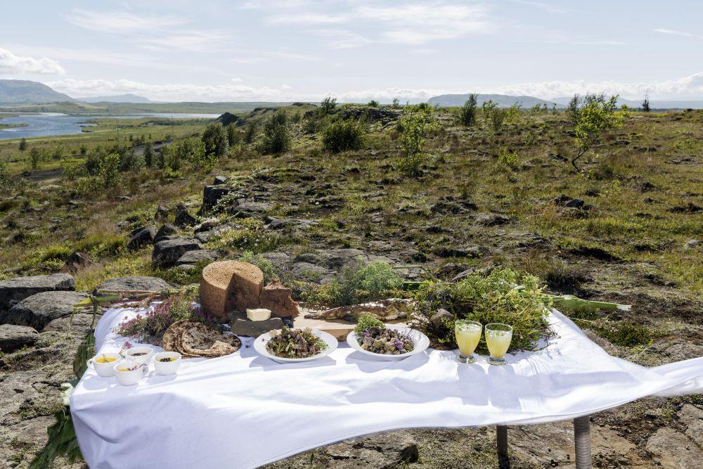 Ingredientes frescos para uma festa ao ar livre em Reykholt. Foto: Bara Kristinsdottir/The New York Times