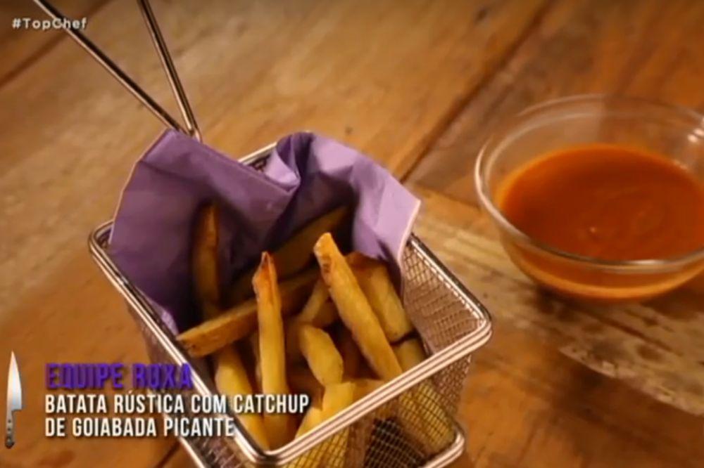 A batata frita do time roxo foi considerada a melhor da disputa pela crocância obtida e o sabor marcante do acompanhamento. Foto: reprodução/Record TV.