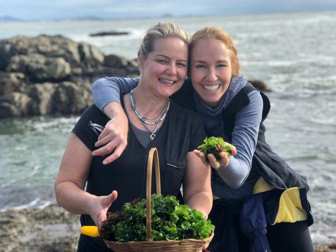 Vânia Krekniski e Gabriela Carvalho colhendo algas comestíveis. Foto: Arquivo pessoal