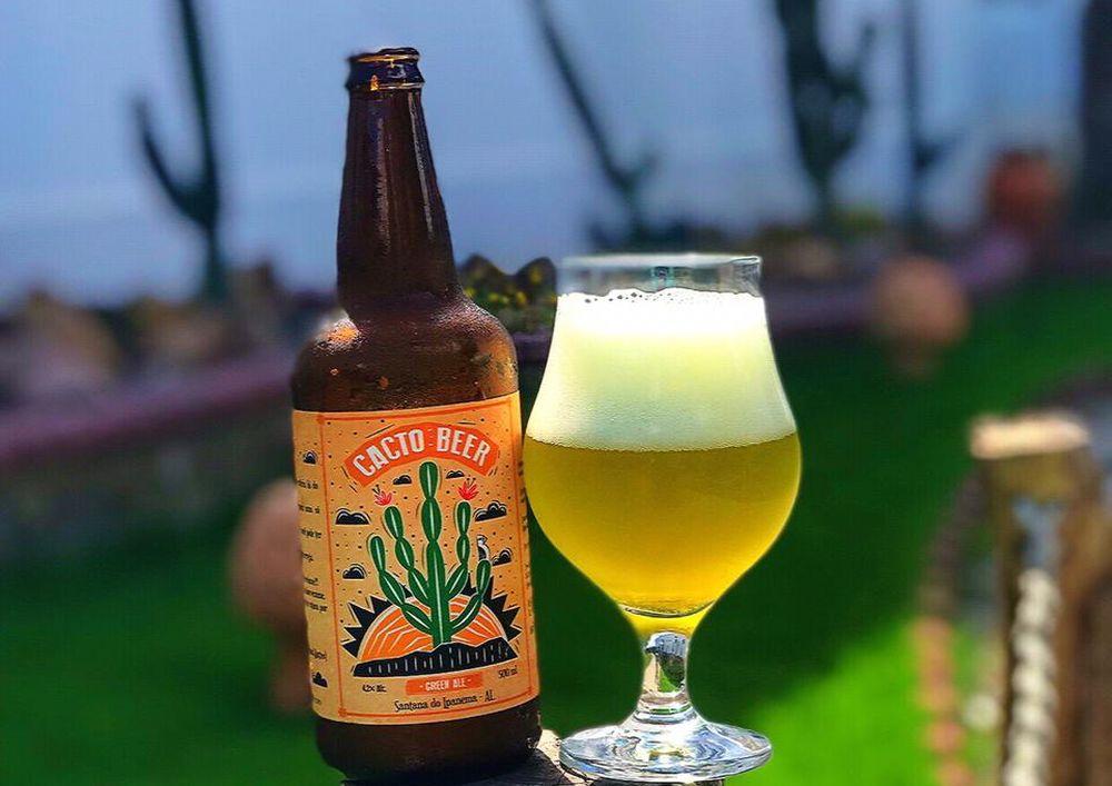 A cerveja é feita com o cacto da espécie Mandacaru, e gera uma bebida de 4,2% de teor alcoólico. Foto: André Silva/divulgação.