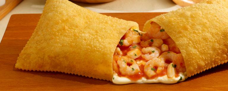 Pastel de camarão dos 10 Pastéis. Foto:  Divulgação.