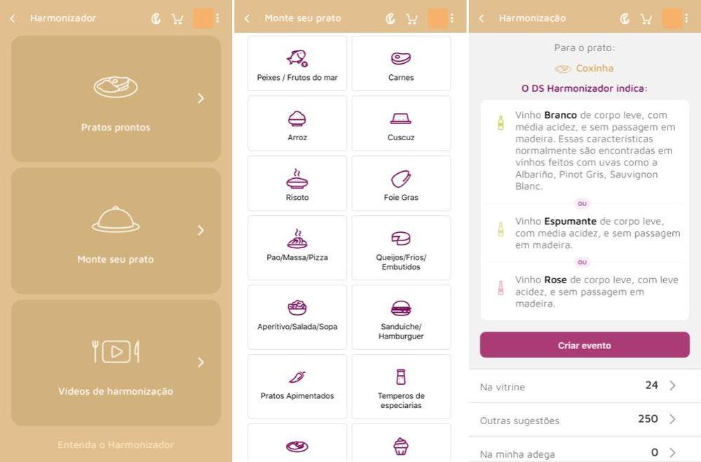 A tela do aplicativo oferece as opções de escolher um prato já pronto ou montar o próprio, e ainda sugestões curiosas de harmonização. Foto: redação.