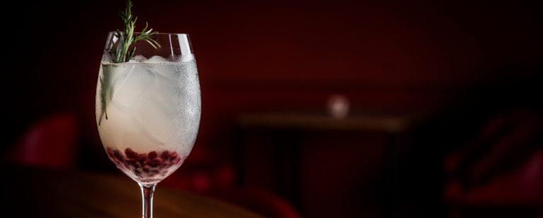 A tonalidade do alecrim somado às sementes de romã no Ginger Gin Tonic combina com as cores do Natal. Foto: Letícia Akemi/ Gazeta do Povo