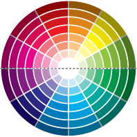 Quentes x frias: Segundo o designer Henning Kunow,  cada cor passa uma sensação térmica.  Então, para aquecer um ambiente, é recomendado usar tons quentes, da parte de cima do círculo, como vermelho e laranja (na foto ao lado, ambiente da Bender Arquitetura ). E, para criar frescor, aposte em tons da parte de baixo, como verde e azul (foto abaixo).