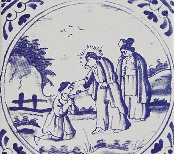 Detalhe do desenho de azulejo com motivo religioso.