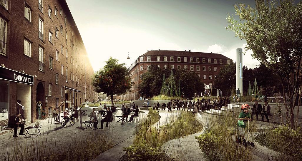 Bairro em Copenhague, na Dinamarca, tem soluções ecoeficientes para combater os efeitos das mudanças climáticas. Fotos: MK_PK3/Divulgação