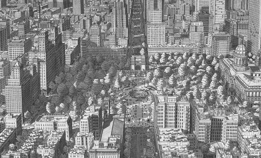 Artista holandês desenha de cabeça cidades com detalhes impressionantes