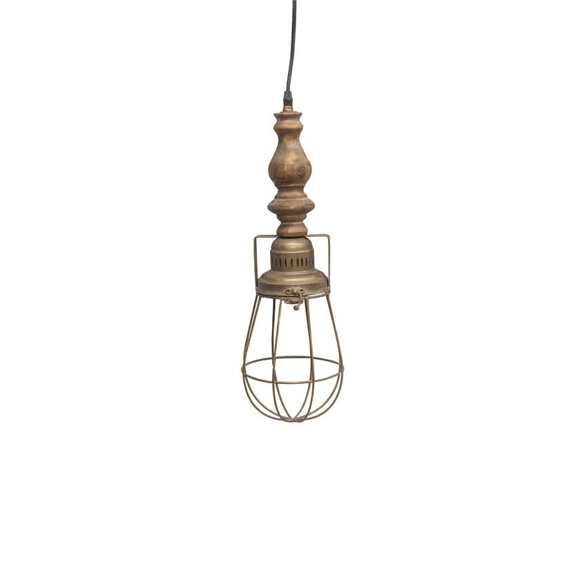 Em madeira e com pintura envelhecida dourada, o Pendente Vintage  Cage é da MinDesigns e custa R$ 349.