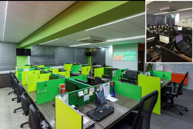 A empresa, antes fria e sem vida (foto no canto direito), ficou mais dinâmica com a simples aplicação de fórmicas em diferentes tons de verde.  Foto: Henrique Queiroga / Divulgação