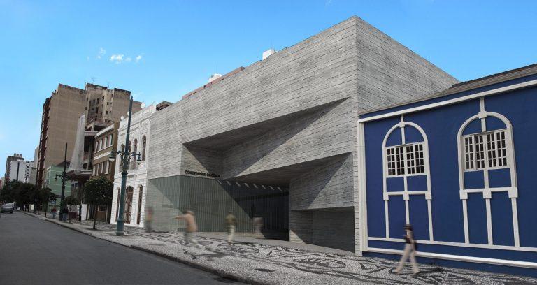 Fachada 3D de conservatório proposto pelo estudante da UP.  Imagem: Divulgação