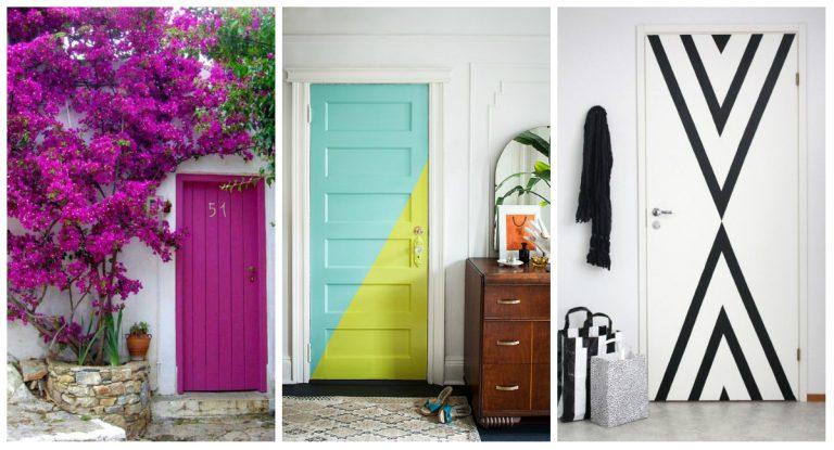 Sejam externas ou internas, as portas são elementos importantes que podem ajudar a dar vida aos ambientes. Com um pouco de cor, é possível deixá-las ainda mais bonitas. Fotos: Reprodução/Pinterest (esq.), One Kings Lane/Divulgação (meio) e Reprodução/Pinterest (dir.)