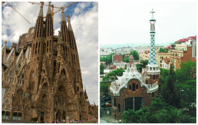 A Sagrada Família e o Parque Güell, duas obras icônicas de Gaudí em Barcelona. Objetos e maquetes do arquiteto catalão estarão no Museu de Arte de Santa Catarina a partir do dia 27 de agosto.  Fotos: Pixabay