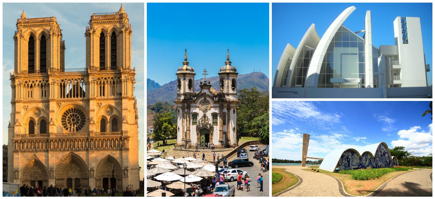 Os diversos estilos arquitetônicos impressionam e emocionam seus fiéis.
