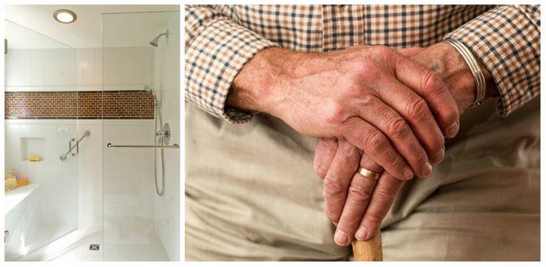 Aparatos de segurança no banheiro, altura de armários e atenção para o chão são alguns dos pontos a serem levados em conta para adaptar a casa para idosos. Fotos: Jeff Beck Photography/ReproduçãoHouzz (esq.) e Pixabay (dir.)