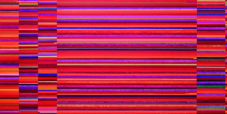 A obra Prélude Fugue et Contrepoint  (150 x 300 cm), óleo sobre tela,  2016, de Gonçalo Ivo. Foto: Jaime Acioli / Divulgação