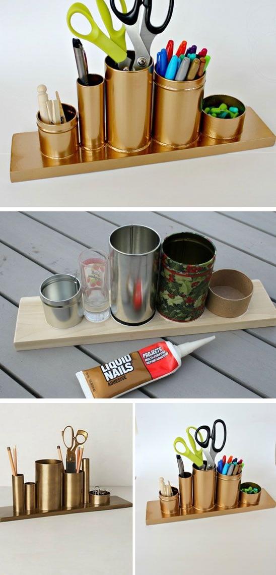 Potes de alumínio e uma tábua de madeira foram pintados com tinta spray e se transformaram num porta-trecos moderninho. / Crédito: Pinterest.