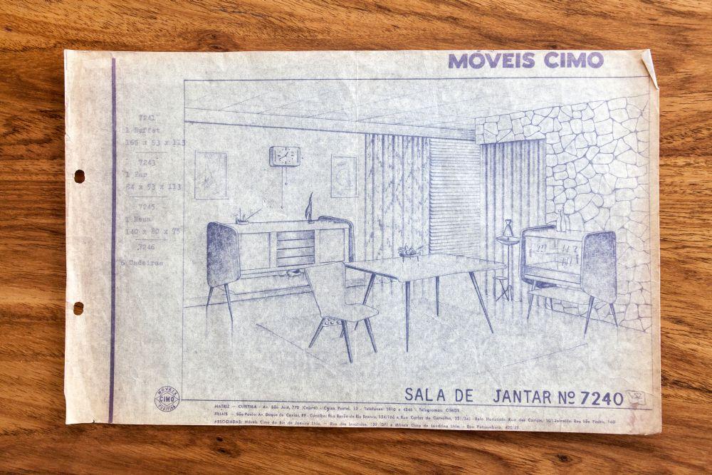 Catálogo da catarinense que anunciava móveis para a casa toda. Repare no home bar que também aparece ao lado.