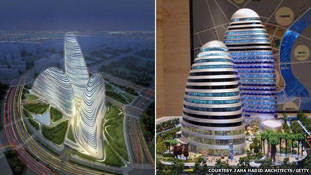 À esquerda, o projeto original do Wangjing SOHO, em Pequim, assinado pela arquiteta Saha Hadid. À direita, uma cópia quase idêntica em Chongqing. Zaha chegou a reclamar porque a cópia estava, inclusive, sendo construída mais rápido que o original. Foto: Zaha Hadid Architects/Getty