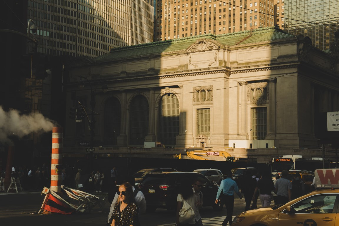 A view that hasn't been offered to pedestrians on 42nd St. in this way for many, many years can now be seen due to demolition, in New York, June 15, 2017. Amtrak will temporarily reroute some intercity service to Grand Central Terminal to relieve pressure on the beleaguered Pennsylvania Station. (George Etheredge/The New York Times)