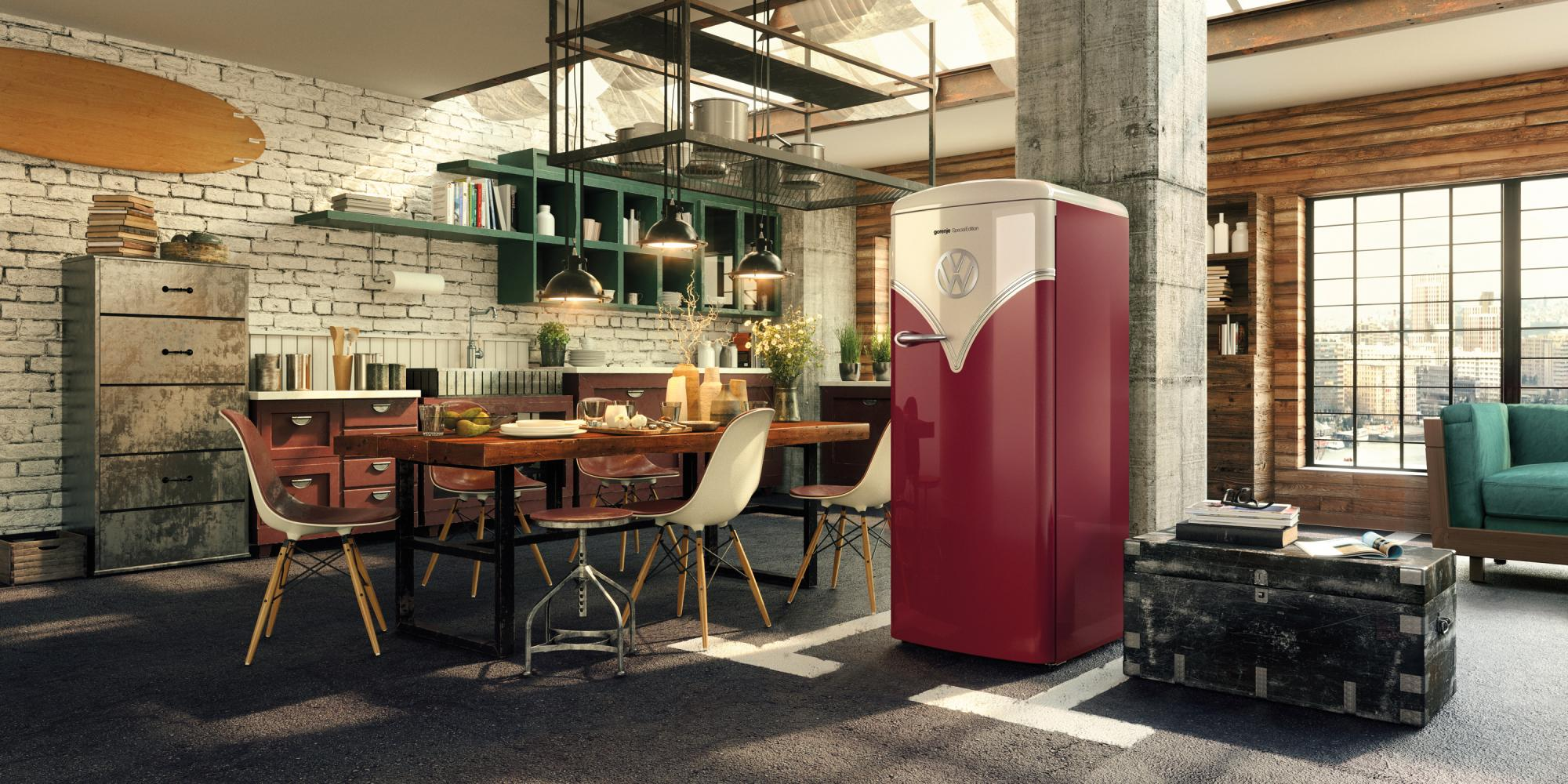 Geladeira com design de Kombi foi lançada pela marca eslovena Gorenje.  Foto: Reprodução