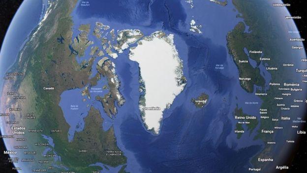 Se derretida completamente, a Groenlândia aumentaria em mais de 6 metros o nível do mar pelo mundo. Foto: Google Earth