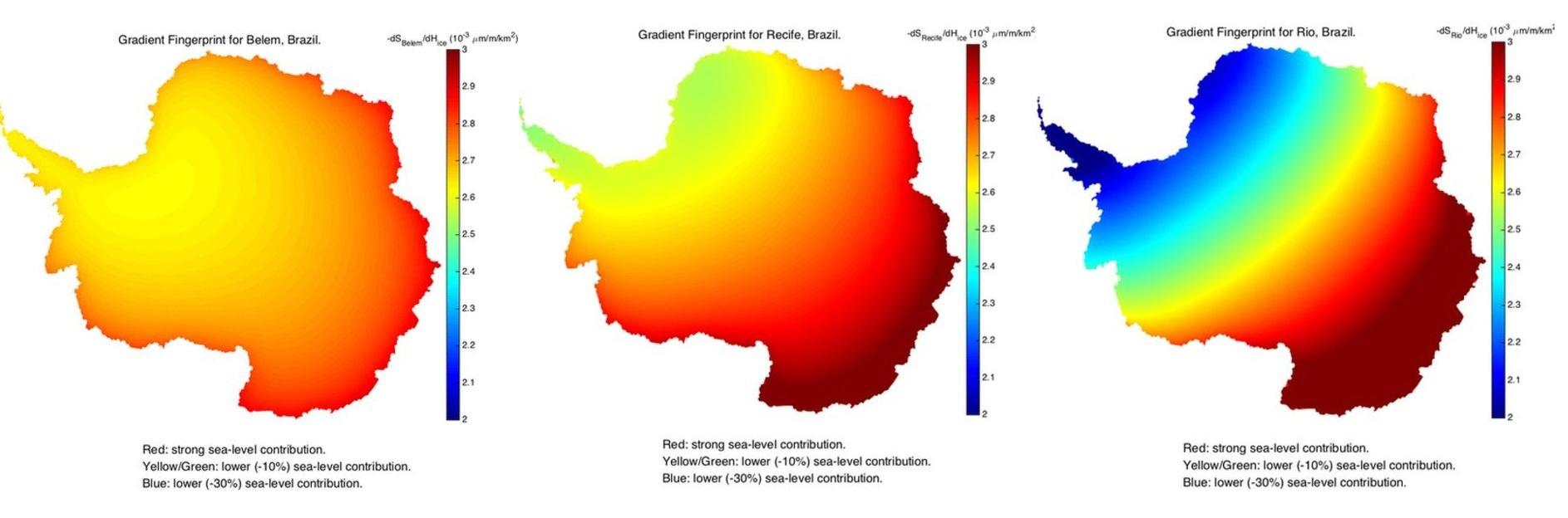 Os dados da Nasa para Belém, Recife e Rio de Janeiro:  quanto mais vermelho, mais sensível a cidade é à dissolução do gelo. Foto: JPL Nasa
