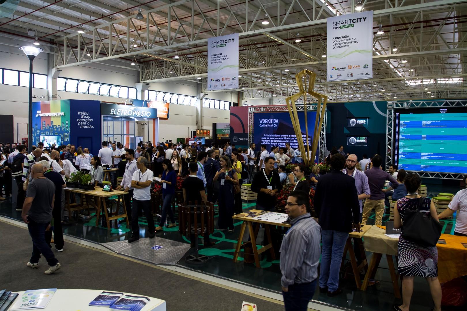 Espaço destinando ao Vale do Pinhão durante o Smart City Expo Curitiba. Foto: Ana Gabriella Amorim / Gazeta do Povo