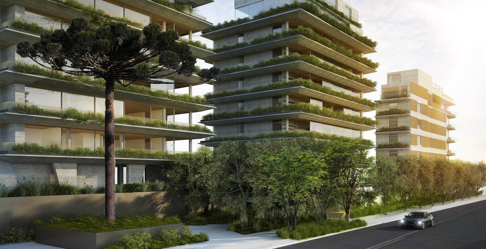 Residencial Ícaro Jardins do Graciosa, no bairro Cabral, em Curitiba, adota o conceito de casas suspensas. Imagem: Divulgação