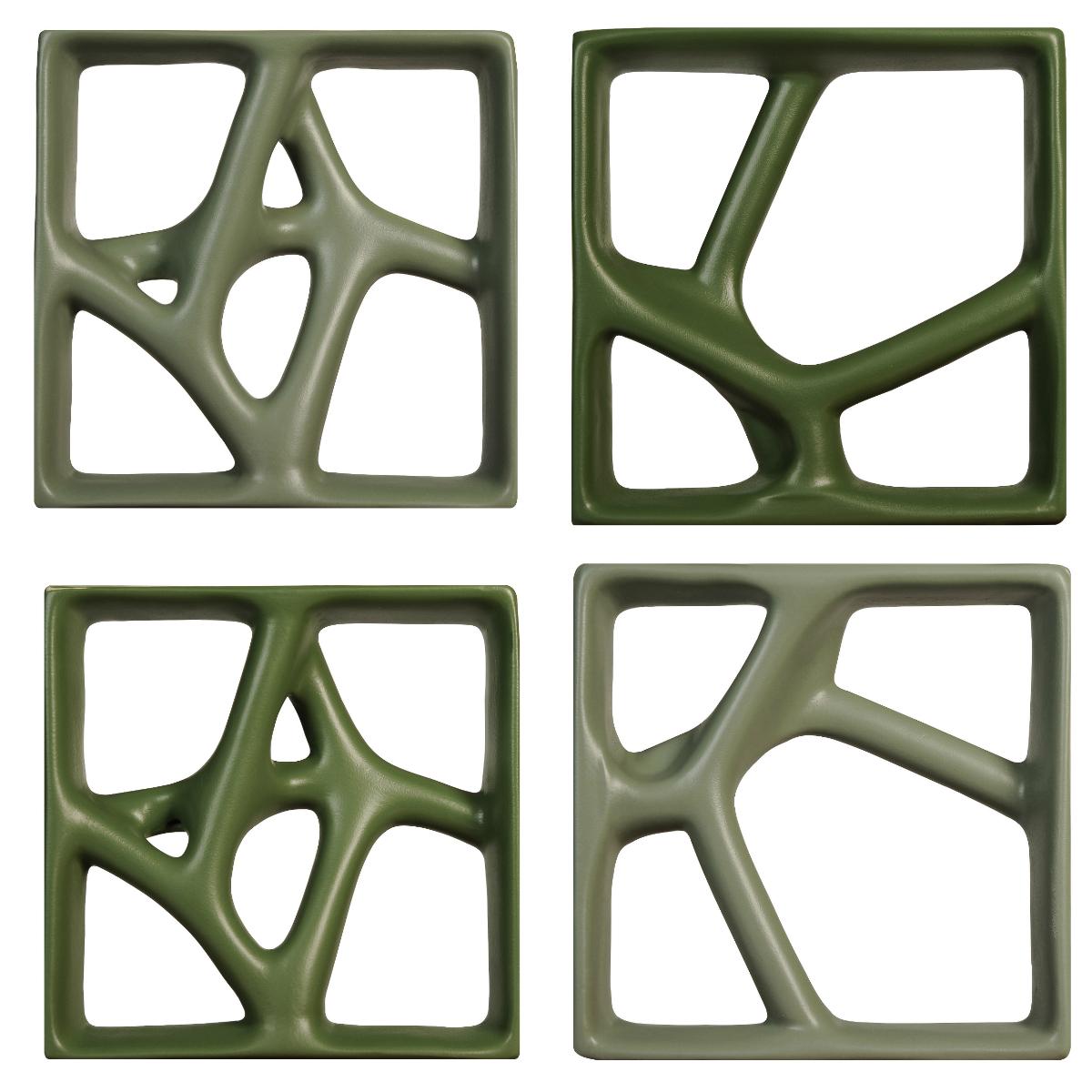 Inspirada nas formas orgânicas, a linha de cobogós Rizoma foi desenvolvida pelo Estúdio Guto Requena para a Manufatti. São dois modelos em três tons de verde que ampliam as possibilidades de paginação do produto. Foto: Divulgação/Manufatti