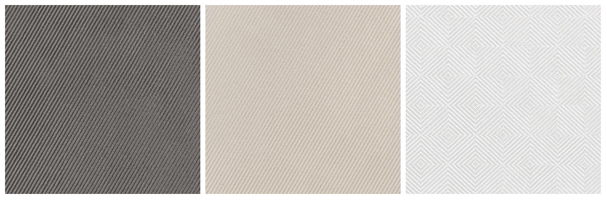 Microrelevos que lembram a textura dos tecidos são destaque na coleção Magic, da Portinari. A linha traz quatro padrões distintos nas cores cinza, branco e bege.  Foto: Divulgação/Portinari