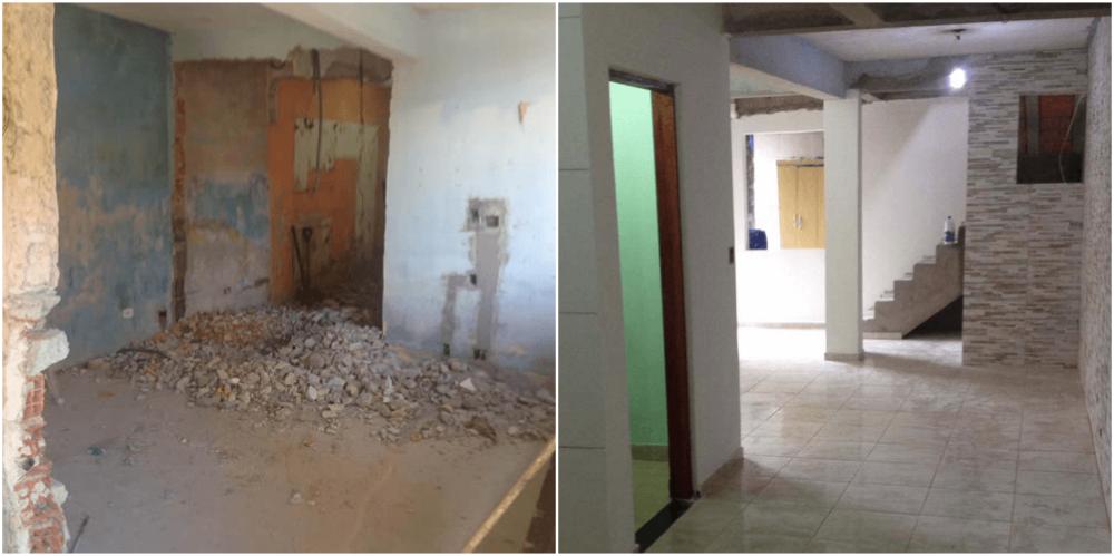 Antes e depois de reforma de sala. Foto: divulgação
