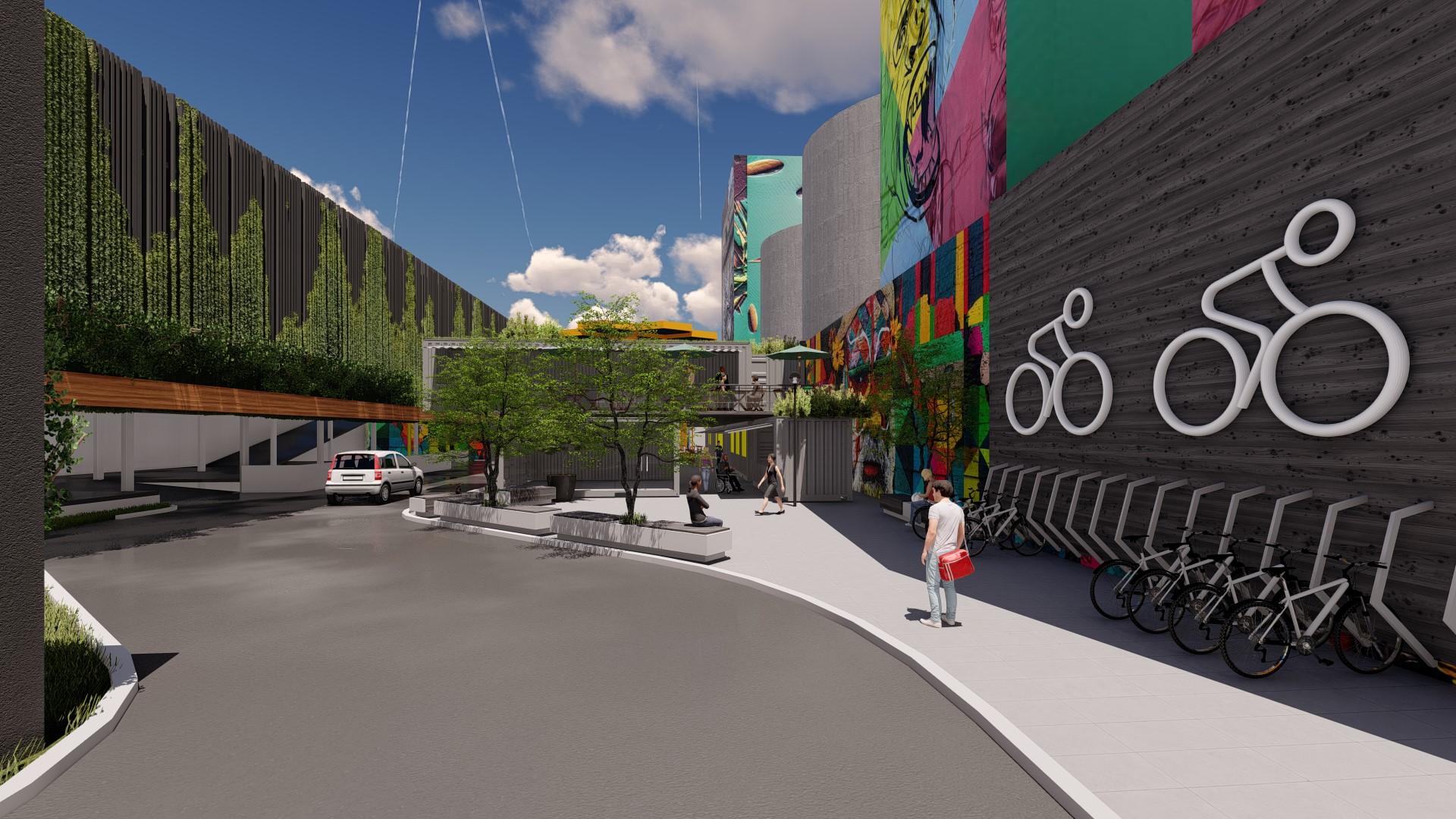 Grafite e jardins verticais compõe a decoração, que remete à cultura urbana. Foto: divugação