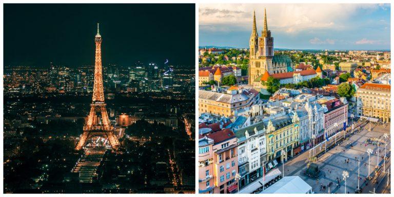 Paris e Zagreb: as capitais de França e Croácia. Fotos: Divulgação